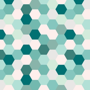 mermaid hexagons // teal
