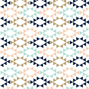 mint glitter navy aztec triangles