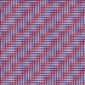 glitchy red / white / blue  plaid