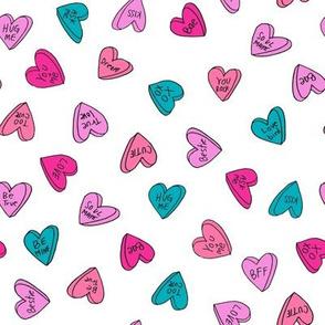 sweet hearts // bright hearts love heart valentines fabric turquoise pink aqua purple valentines love fabric