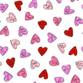 sweet hearts // pink and red sweet candies valentines love hearts valentines fabric andrea lauren design