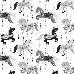 'Custom order' - Carousel Horses 2 // by petite_circus // black white grey // cute kids baby nursery //