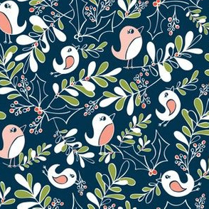 Mistletoe Merriment Navy Blue Christmas Birds