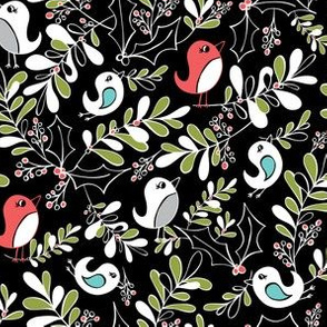 Mistletoe Merriment Black Christmas Birds