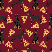 doberman dog fabric doberman pinscher ruby red pizza fabric
