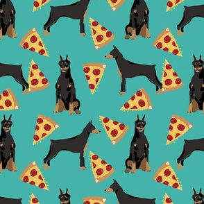 doberman dog fabric doberman pinscher  turquoise pizza fabric
