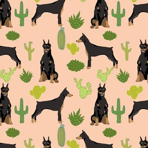 doberman dog fabric doberman pinscher  apricot cactus fabric