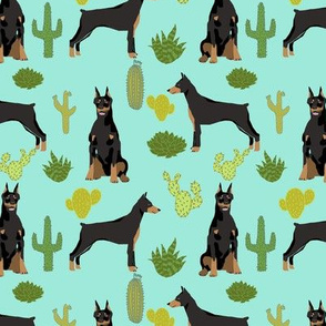 doberman dog fabric doberman pinscher  aqua cactus fabric