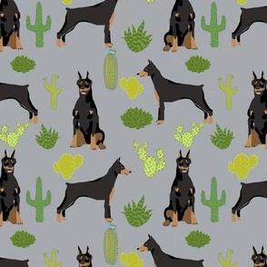 doberman dog fabric doberman pinscher quarry grey cactus fabric