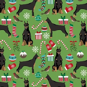 doberman dog fabric doberman pinscher asparagus green christmas fabric