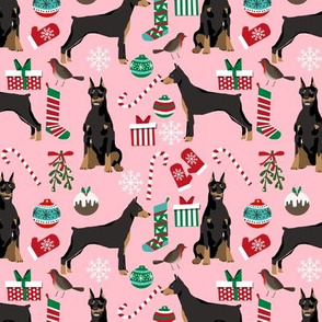 doberman dog fabric doberman pinscher pink christmas fabric