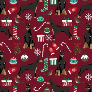 doberman dog fabric doberman pinscher ruby red christmas fabric