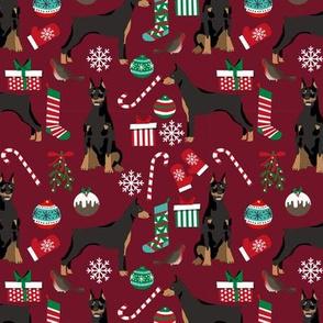 doberman dog fabric doberman pinscher ruby red christmas fabric
