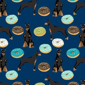 doberman dog fabric doberman pinscher navy donuts fabric