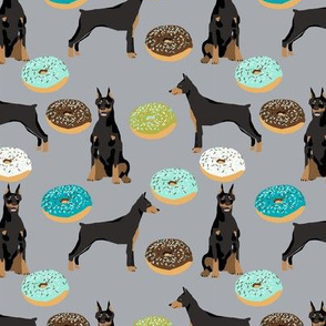 doberman dog fabric doberman pinscher grey donuts fabric