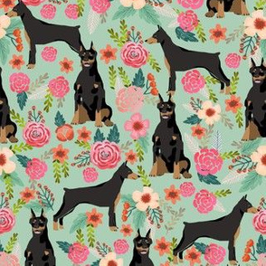 doberman dog fabric doberman pinscher mist green fabric