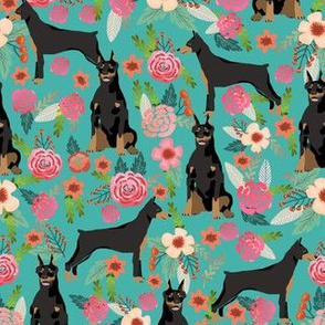 doberman dog fabric doberman pinscher turquoise fabric