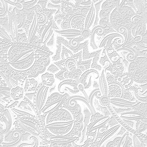 Embossed Paisley - White
