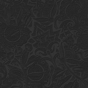 Embossed Paisley - Black