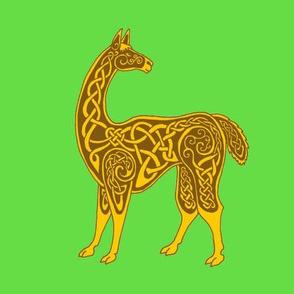 celtic llama gold on green