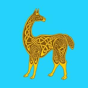 celtic llama gold on blue