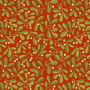 Mistletoe Ditsy on Warm Red