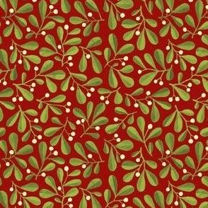 Mistletoe Ditsy on Dark Red
