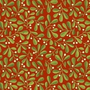 Mistletoe Ditsy on Medium Dark Red