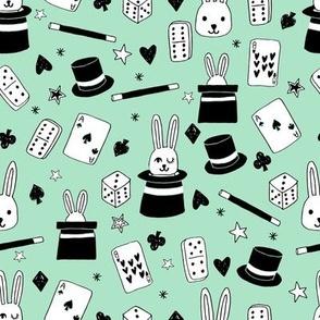 magic show // mint magic design magician fabric mint kids design bunny in a hat cute magic fabric