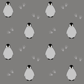 Penguins on gray