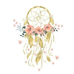 Sweet Dreams Baby Girl Dream Catcher - Gold 7""