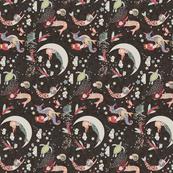 Mermaid Lullaby (SMALL) black linen