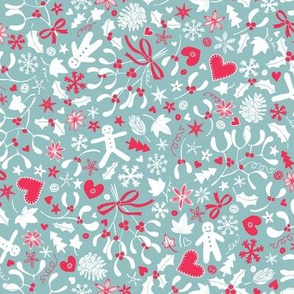Mistletoe & Gingerbread Ditsy - pink & dove grey