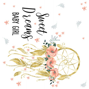 Sweet Dreams Baby Girl Dream Catcher Quote in Gold