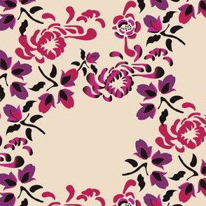 Asian Floral in pink purple on cream_Miss Chiff Designs