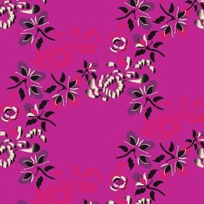 Japanese Floral Trellis on Hot Pink_Miss Chiff Designs