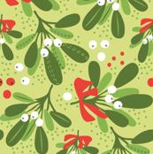 Mistletoe Night on green ditsy