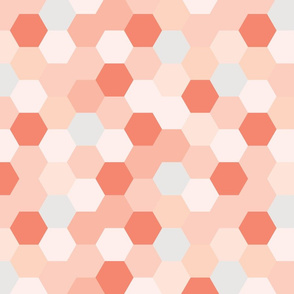 mermaid hexagons // coral + pink