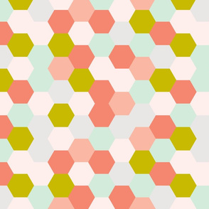 mermaid hexagons // coral + citron