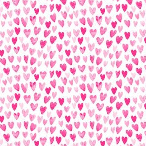 pink valentines watercolor hearts cute hearts fabric best girls fabric