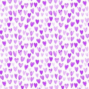 purple valentines fabric cute watercolors fabric purple cute hearts fabric