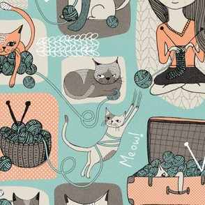 Cats & Wool Placement Print for Project Bags