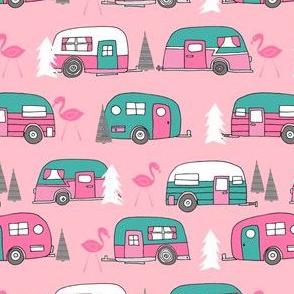 vintage camper // pink and turquoise camper van retro flamingo florida life cute andrea lauren design andrea lauren fabric