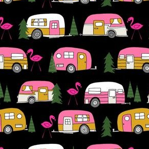 vintage camper // pink and yellow retro camper van retro flamingo trailer design andrea lauren fabric