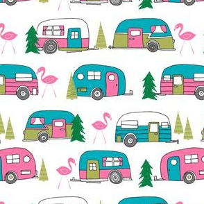 vintage camper // retro vintage campers cute pink and white flamingo retro road trip