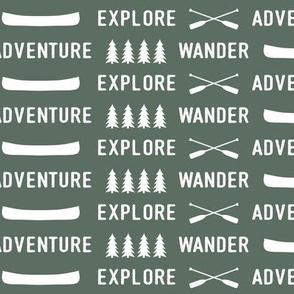 explore wander adventure on terrain green    adventure camp