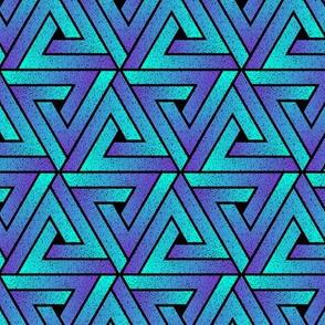 Grunge Key Triangles - Cyan Mauve
