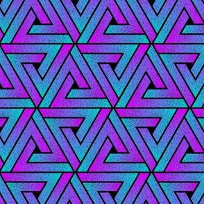 Grunge Key Triangles - Cyan Magenta