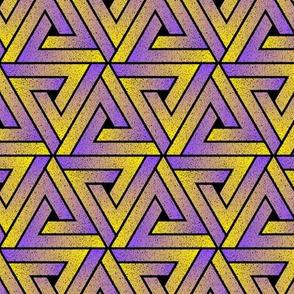 Grunge Key Triangles - Purple Yellow