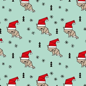 Christmas kitten origami cat with a santa hat happy holidays fabric mint gender neutral